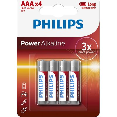 Philips Power Alkaline батерия LR03 AAA, 4-blister