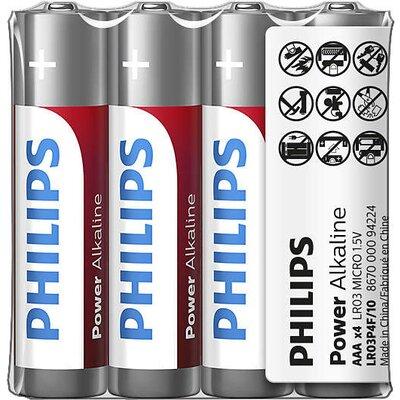 Philips Power Alkaline батерия LR03 AAA, 4-foil