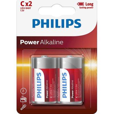 Philips Power Alkaline батерия LR14 (C), 2-blister