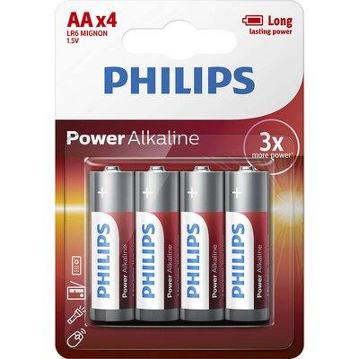 Philips Power Alkaline батерия LR6 AA, 4-blister