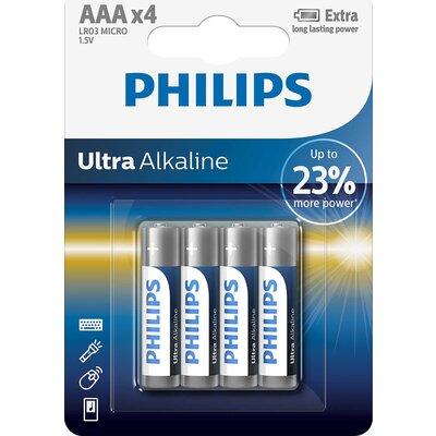 Philips Ultra Alkaline батерия LR03 AAA, 4-blister