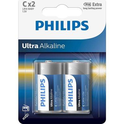 Philips Ultra Alkaline батерия LR14 C, 2-blister