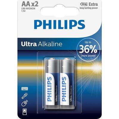 Philips Ultra Alkaline батерия LR6 AA, 2-blister