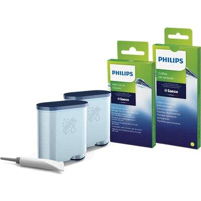 Philips Комплект за поддръжка за машините за еспресо Saeco, цялостна защита, 2 филтри AquaClean и смазка, 6 препарати за мляко и