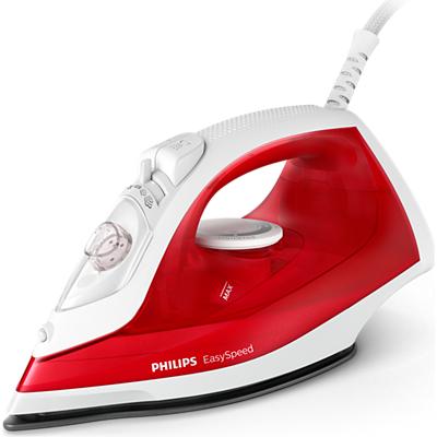 Philips Парна ютия Парен удар до 90 г, Незалепваща гладеща повърхност, Защита срещу варовик, цвят червен