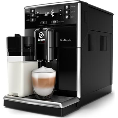 Philips автоматична еспресо машина Saeco PicoBaristo 10 напитки, Вградена първокласна кана за мляко, Предна част с цвят Piano Bl