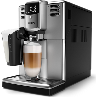 Philips автоматична еспресо машина Saeco Series 5000 6 напитки, система за разпенване LatteGo, Неръждаема стомана, AquaClean
