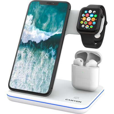 CANYON WS-302 3in1 Wireless charger, with touch button for Running water light, Input 9V/2A, 12V/2A, Output 15W/10W/7.5W/5W, Typ