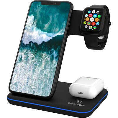 CANYON WS-303 3in1 Wireless charger, with touch button for Running water light, Input 9V/2A, 12V/2A, Output 15W/10W/7.5W/5W, Typ
