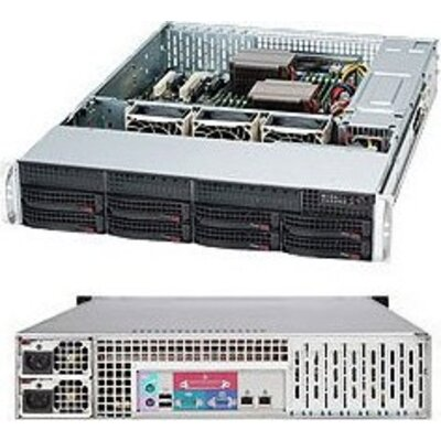 "SUPERMICRO SuperChassis CSE-825TQ-R740LPB, 2U Rack-Mountable, 8x3.5"" HS HDD bays, 2x3.5"" fixed HDD bays, opt. Slim ODD"