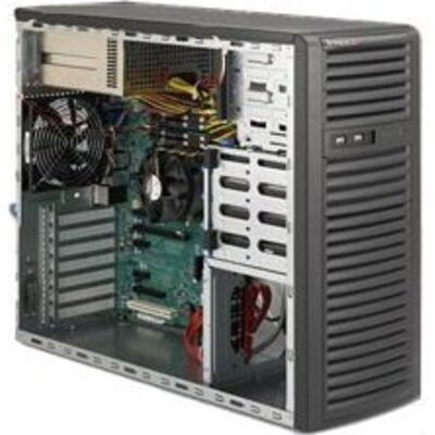 Supermicro CSE-732I-R500B, Mid-Tower, Fixed HD SATA/SAS/IDE,  Redundant 500W - Black