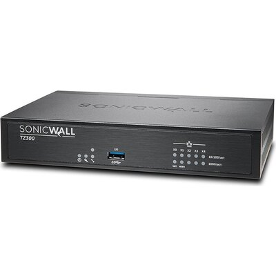 SONICWALL TZ300 TOTALSECURE 1YR, SMB firewall, 5x1GbE, 1 USB, TOTAL SECURE LICENSE 1 year, CGSS: Anti-Virus, Anti-Spyware, IPS,