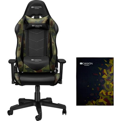 Argama Gaming chair + Floor mat 100x130cm.PU leather, Original foam and Cold molded foam, Metal Frame, Butterfly mechanism, 90-1