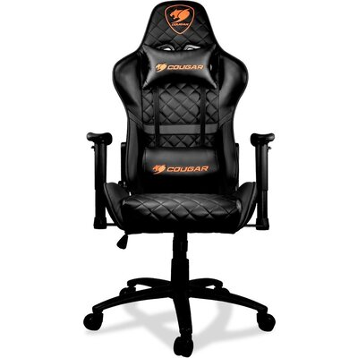 COUGAR Armor ONE BLACK Gaming Chair, Diamond Check Pattern Design, Breathable PVC Leather, Class 4 Gas Lift Cylinder, Full Steel