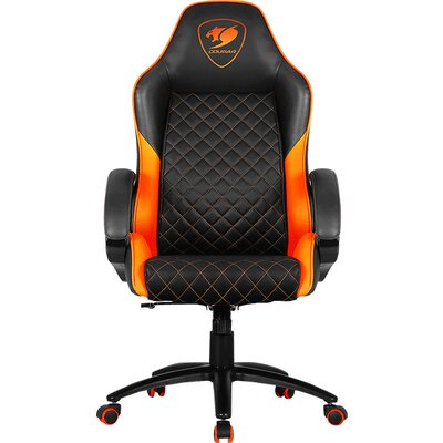COUGAR Fusion Orange Gaming Chair, diamond-check pattern,Class 4 gas lift cylinder,Dependable metal 5-star base,PU wheels,Weight