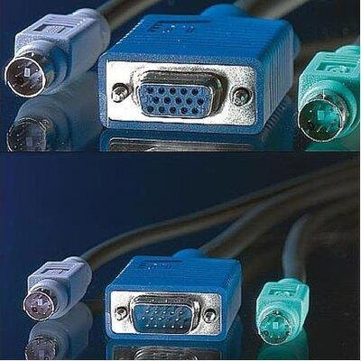 Cable KVM 1xHD15M/F, 2xPS2M/M,3m,Roline 11.01.5463