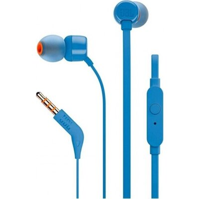 Earphones JBL Tune 110 with Remote, Mic, Blue